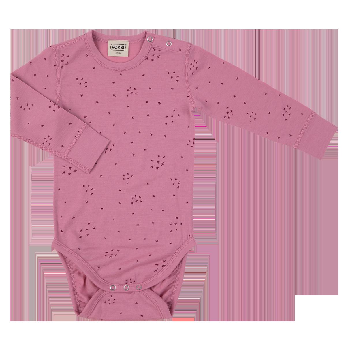 Voksi meriinovillane body Star roosa