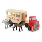 Melissa & Doug Puidust hobuste  puksiirveok