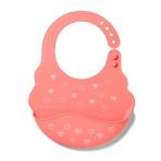 BabyOno pudipõll taskuga silikoonist südametega roosa