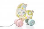 Puidust mänguasi ratastel Õnnelik jänku