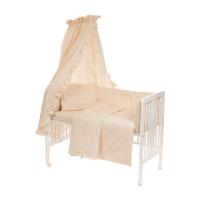 Beebi voodipesukomplekt pitsiga 6-osaline, naturaalne