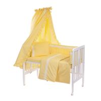 Beebi voodipesukomplekt pitsiga 6-osaline, kollane