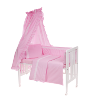 Beebi voodipesukomplekt pitsiga 6-osaline, roosa