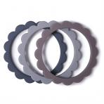Mushie närimisrõngas Flower 3-pakk Dove Gray/Steel/Stone
