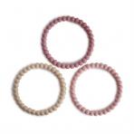 Mushie närimisrõngas Pearl 3-pakk Linen/Peony/Pale Pink