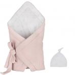 Effiki sametine seotav beebitekk + beebi müts, roosa