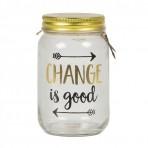 Sass & Belle väike klaasist rahakassa Change is good