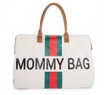 Childhome beebitarvete kott suur Mommy Bag White Stripes roheline/punane
