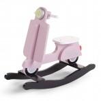 Childhome puidust kiiktool mootorratas roosa/must