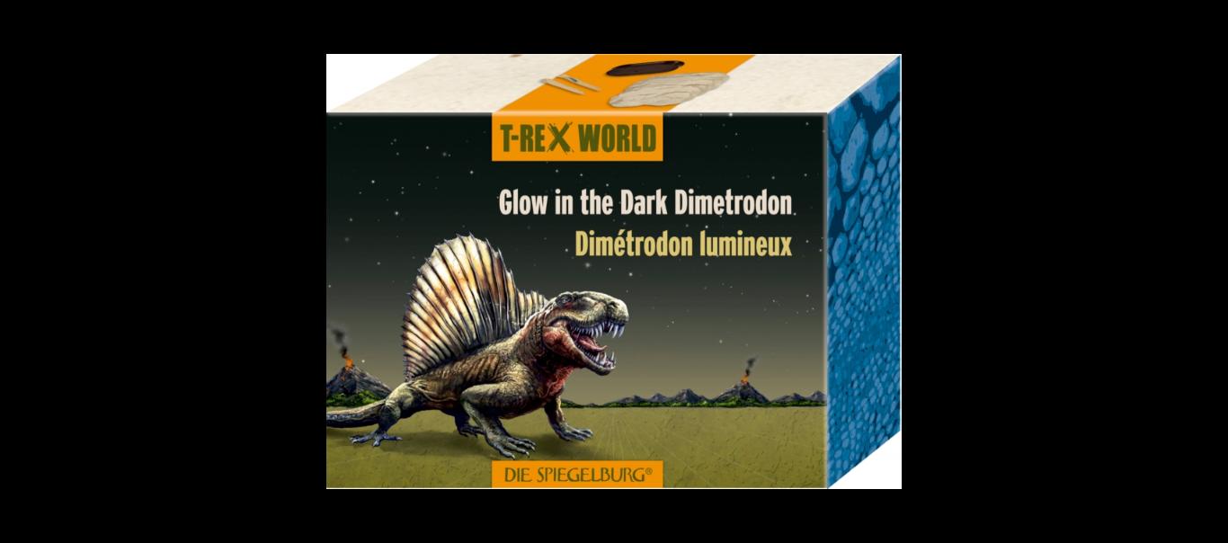 T-Rex World skelett - pimedas helendav Dimetrodon