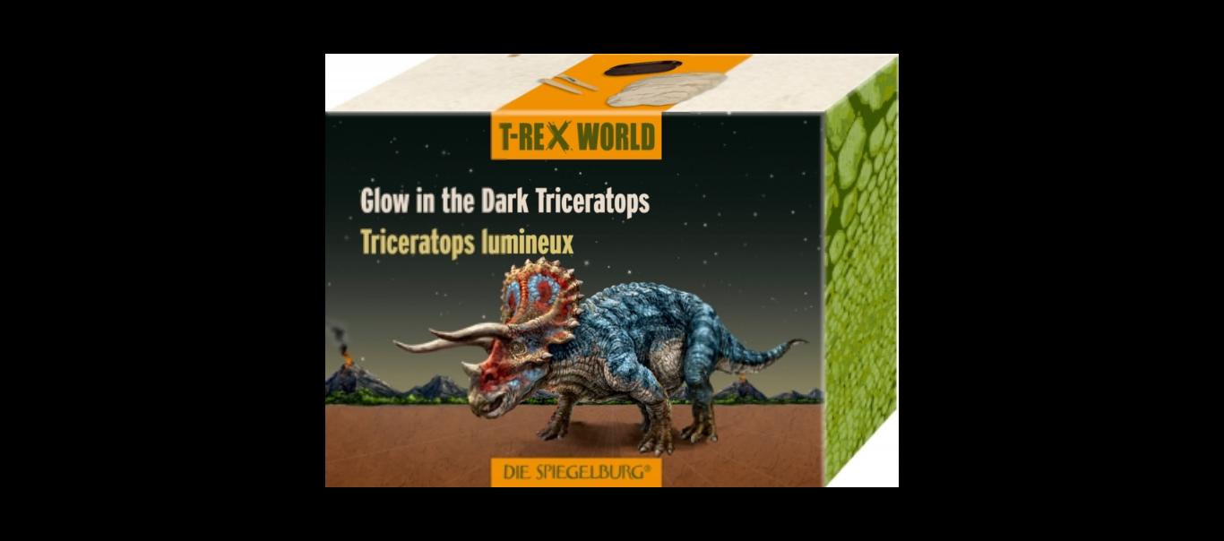 T-Rex World skelett - pimedas helendav Triceratops