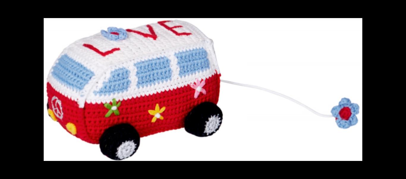 Baby Charms heegeldatud nöörist tõmmatav muusikaline mänguasi auto