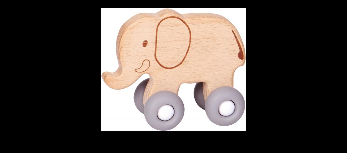 Baby Charms puidust mänguasi Elevant ratastel