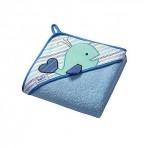 BabyOno vannirätik kapuutsiga froteest 100x100cm sinine