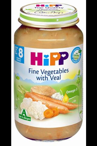 HIPP juurviljad riisi ja vasikalihaga BIO 8+ kuud 6x220g