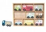 JaBaDaBaDo puidust sõidukid riiulil