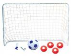 Jalgpallivärav koos palli ja tarvikutega