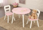KidKraft ümmargune laud ja kaks tooli roosa