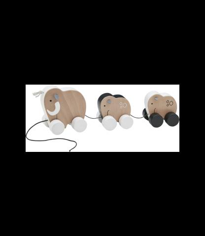 Kids Concept puidust järelveetav mänguasi Mammuti perekond