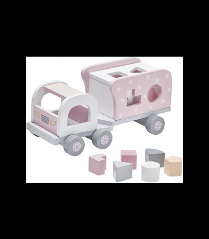 Kids Concept puidust kujunditesorteerija Auto roosa