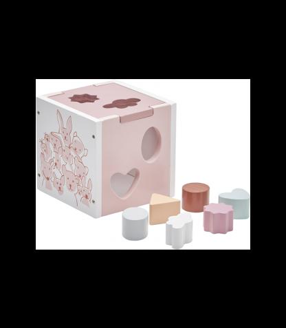 Kids Concept puidust sorteerimiskuubik roosa