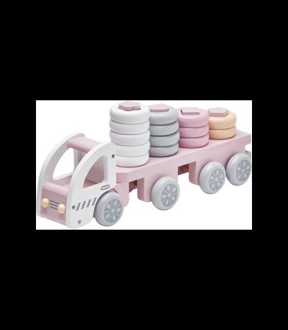 Kids Concept puidust torniladumise komplekt Auto roosa