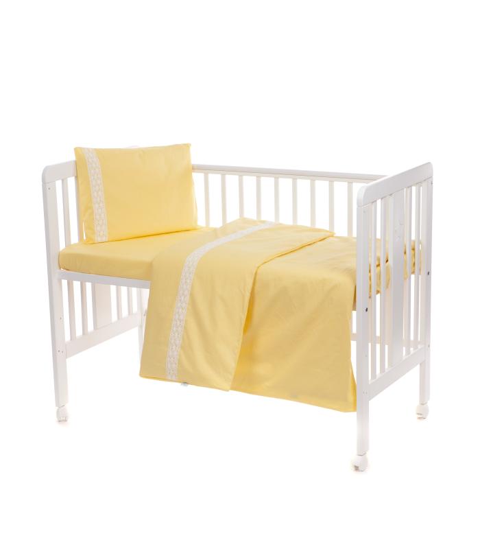 Beebi voodipesukomplekt pitsiga kollane