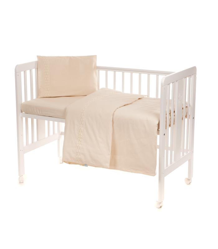 Beebi voodipesukomplekt pitsiga naturaalne
