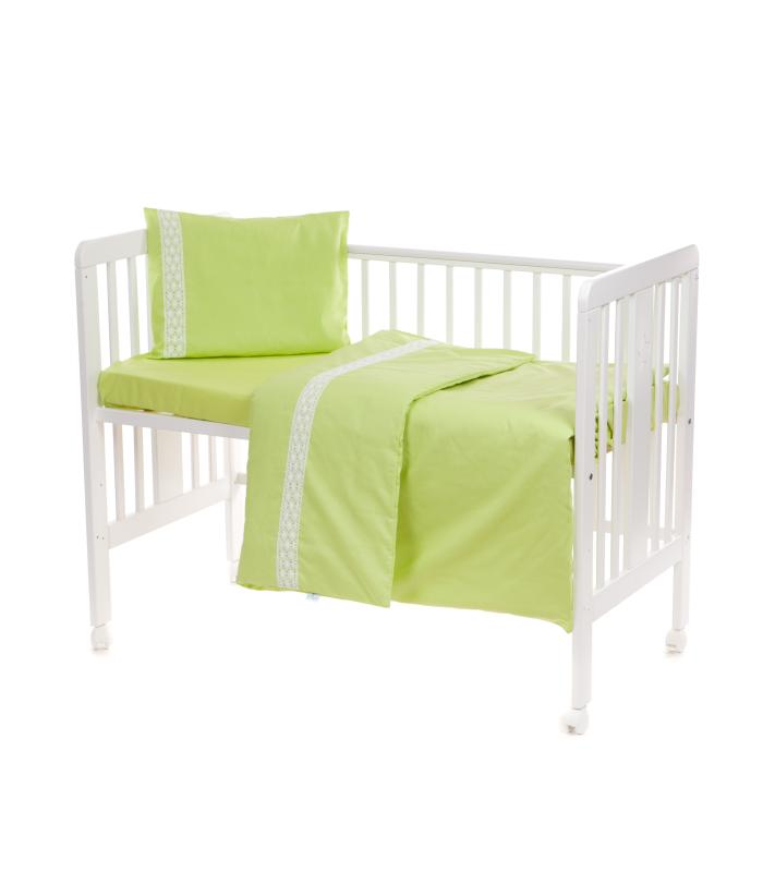 Beebi voodipesukomplekt pitsiga roheline