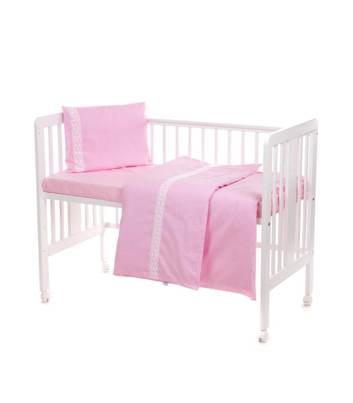 Beebi voodipesukomplekt pitsiga roosa