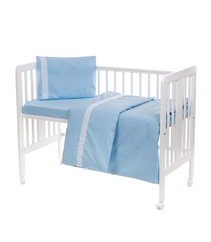 Beebi voodipesukomplekt pitsiga sinine