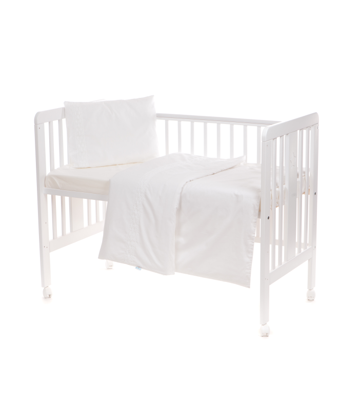 Beebi voodipesukomplekt pitsiga valge
