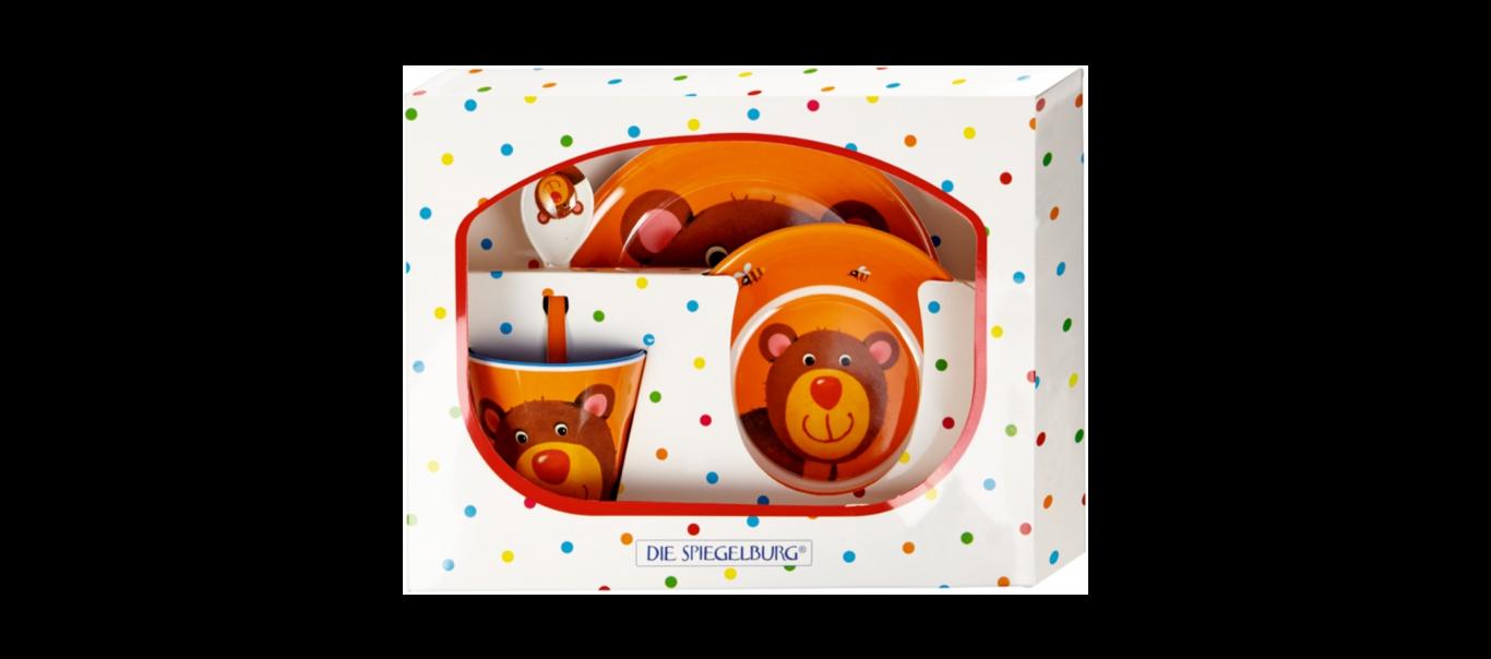Lõbus Loomaparaad melamiinist nõude kinkekomplekt Karu