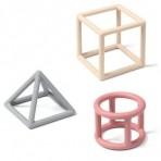 BabyOno silikoonist geomeetrilised närimisrõngad beez/hall/lilla 3 tk.
