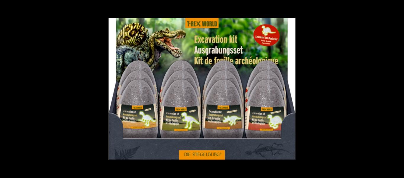 T-Rex World luude väljakaevamiskomplekt helendav munas 1tk