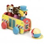 Vilac puidust järelveetav mänguasi Buss reisijatega