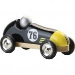 Vilac puidust retro võidusõiduauto must-kollane