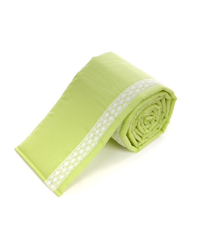 Voodipehmendus beebivoodile pitsiga roheline