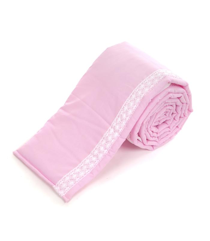 Voodipehmendus beebivoodile pitsiga roosa